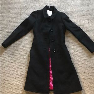Kate Spade black wool bow embroidered coat, 00